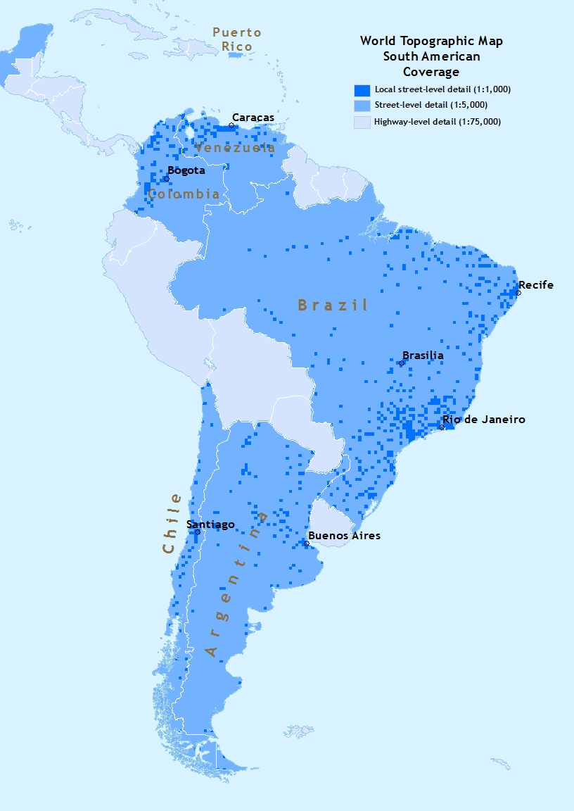 Image showing South America coverage for World Topographic Map 5.0