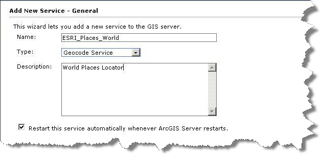 Add service general dialog for a geocode service