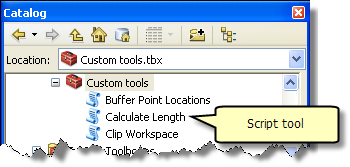 Script tool in catalog window