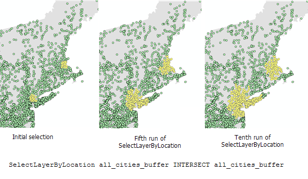 SelectLayerByLocation using INTERSECT