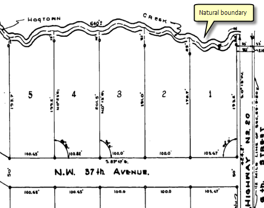 Natural boundary depicted on a plat (record of survey)