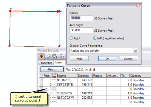 Working with the Tangent Curve COGO tool