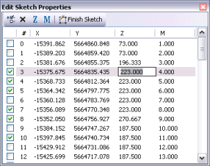 Editing information about vertices in the Edit Sketch Properties window