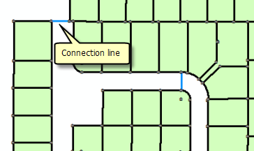 Connection lines connecting parcel blocks