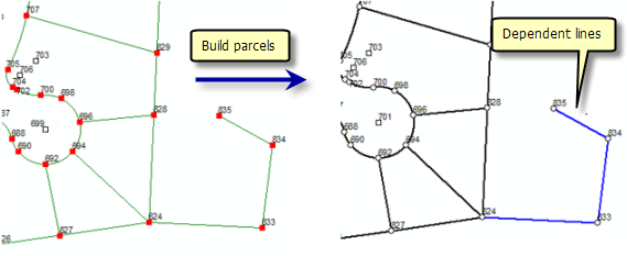 Build parcels with dangling lines