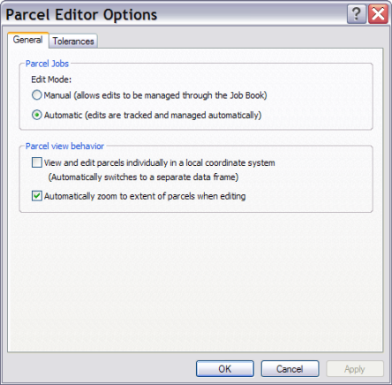 Parcel Editor Options dialog box