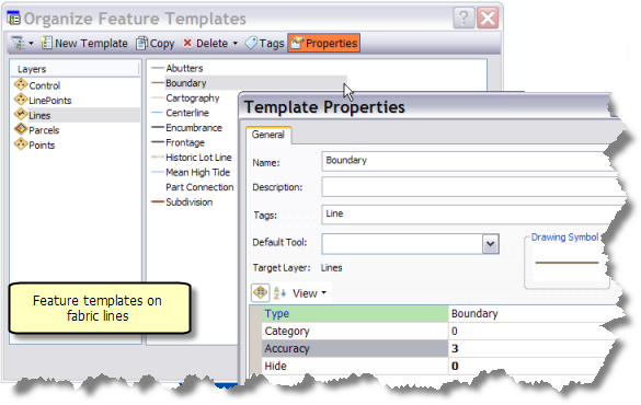 Creating feature templates for the parcel fabric layer