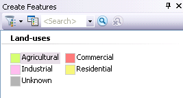 Create Features window with the feature templates named after the symbol labels