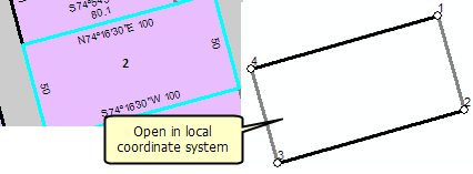 Opening a parcel in a stand alone local coordinate system
