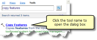 Opening the tool dialog from the Search window