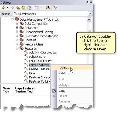 Opening the tool dialog from the Catalog window