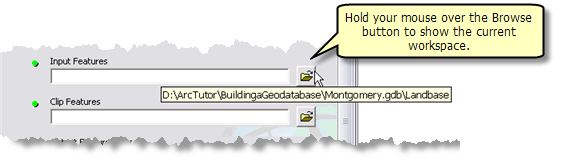 Displaying the current workspace in a tool dialog box