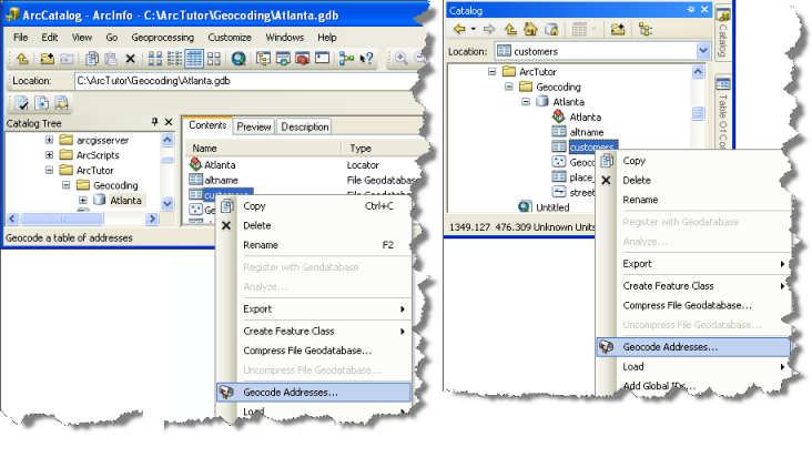 Working with Geocoding in ArcCatalog or Catalog window in ArcMap