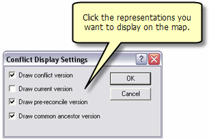 Choosing conflict display settings