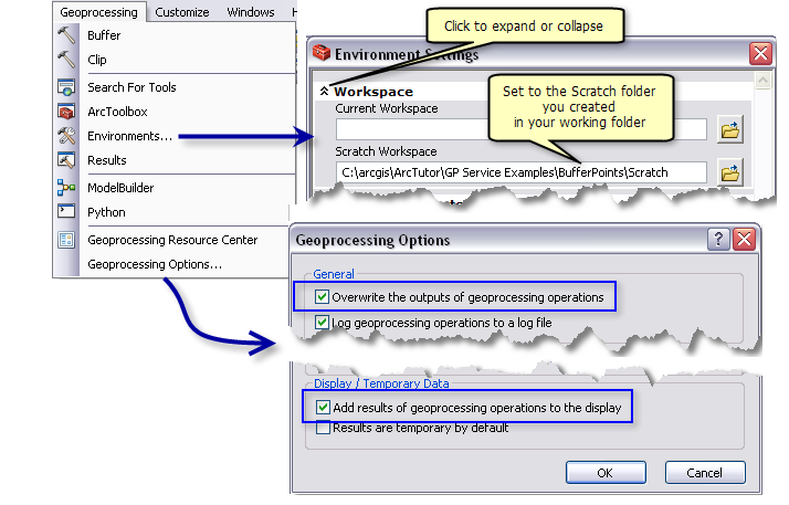 Geoprocessing options