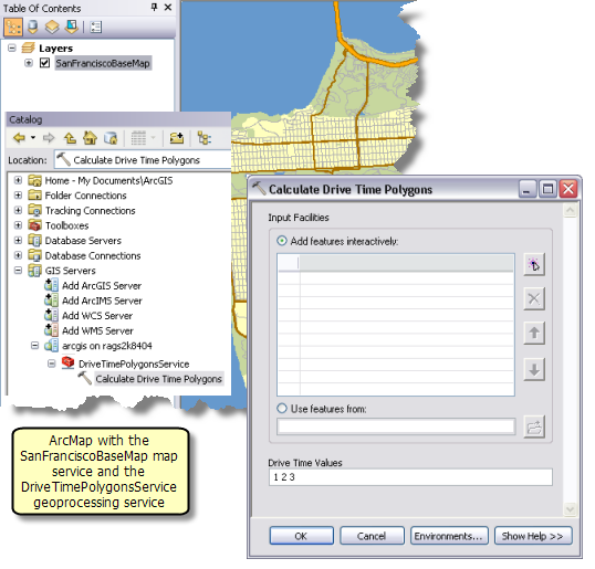 Calculate Drive Time Polygons task in an ArcMap session