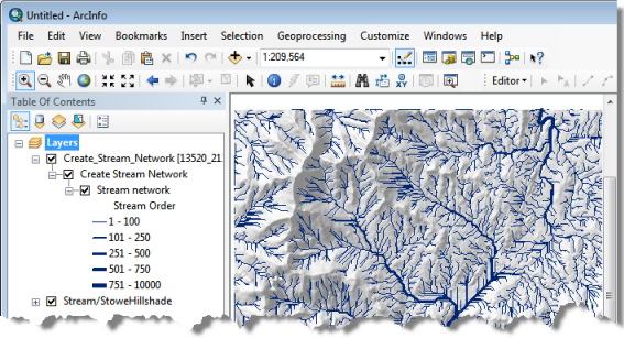 ArcMap after executing the Create Steam Network task