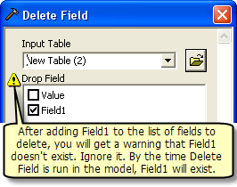 Delete field warning