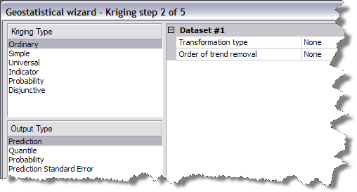 The Geostatistical Wizard dialog box step 2.