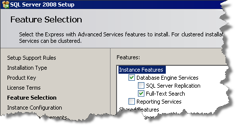 Feature Selection for SQL Server 2008 Express