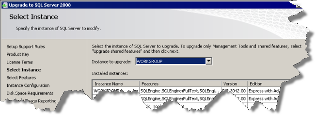 Select a SQL Server Express instance to upgrade