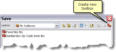 Create new toolbox button in Save dialog