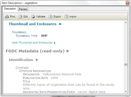 If an item's metadata includes FGDC-formatted information, it appears at the bottom of the page