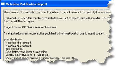 If an ArcIMS Metadata Service requests validation, a document won't publish if it is missing required information.