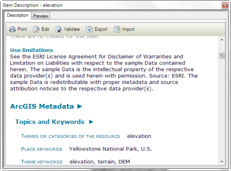 If a metadata style gives you access to full ArcGIS metadata, it appears at the bottom of the short description