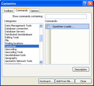 Select the Gazetteer Loader command in the Customize dialog box.