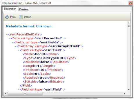 The contents of an XML file that doesn't contain a recognized metadata format is displayed as XML data