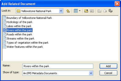 Add a relationship to another published metadata document.