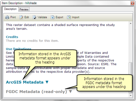 All metadata styles that let you create complete metadata show any FGDC-formatted content present in the metadata