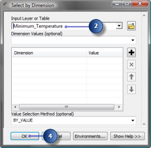 Parameter values in Select by Dimension tool