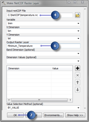 Parameter values in Make NetCDF Raster Layer tool