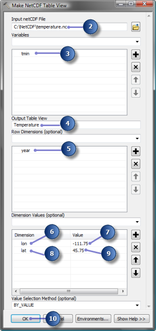 Parameter values in Make NetCDF Table View tool