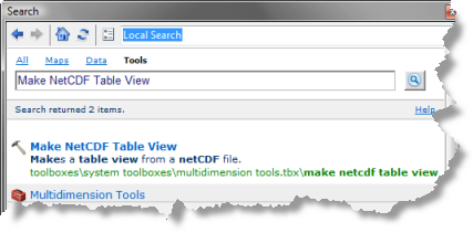 Search for Make NetCDF Table View tool
