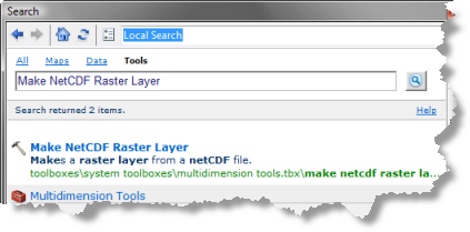 Search for Make NetCDF Raster Layer tool