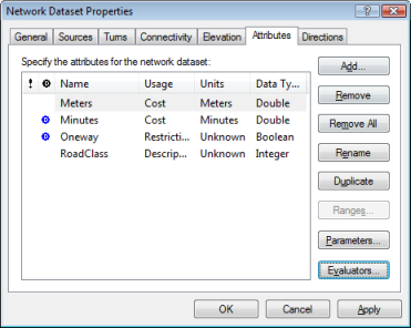 The Attributes tab of the Network Dataset Properties dialog box