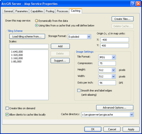 Screen shot of the Caching tab located on the Map Service Properties dialog box