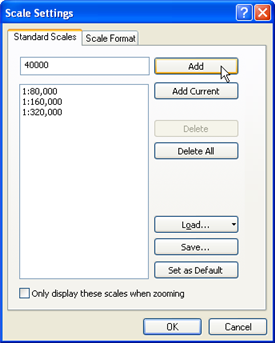 Screen shot of Scale Settings dialog box