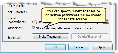 Store relative pathname check box