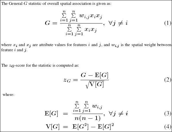 Mathematics for the General G statistic