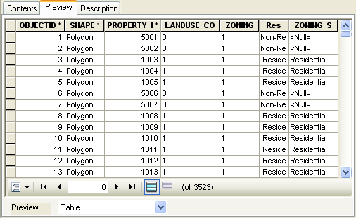 A table in ArcCatalog is previewed as it is setup in the geodatabase