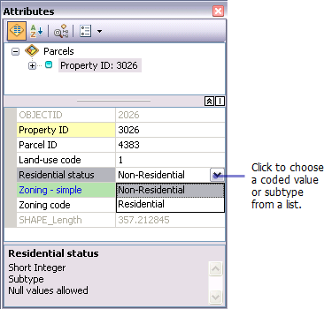 Attributes window showing a drop-down list for a subtype field
