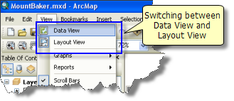 Using the View menu to switch between Data View and Layout View