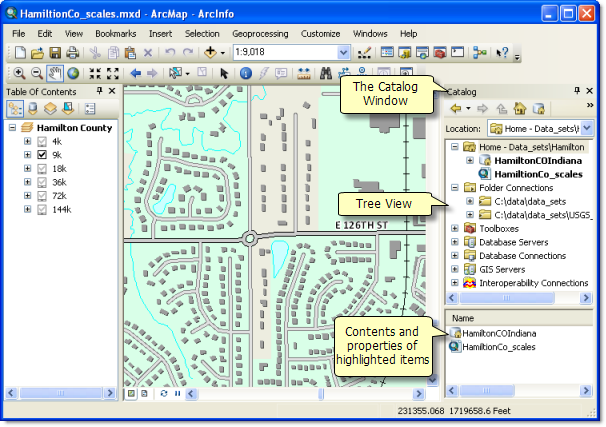 The Catalog window in ArcMap