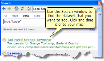 Adding a layer from the Search window