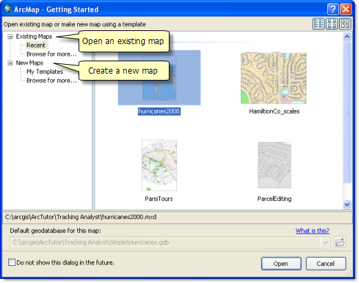 Opening a map in the Getting Started dialog box