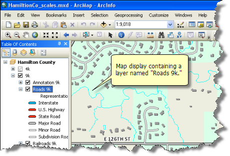 Example layer displaying highways